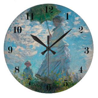 Mujer con una bella arte de Claude Monet del Reloj Redondo Grande