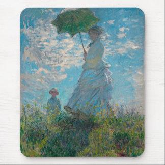 Mujer con una bella arte de Claude Monet del Tapete De Ratón