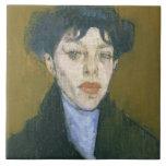 Mujer con una bufanda azul, c.1912 (aceite en lona teja  ceramica