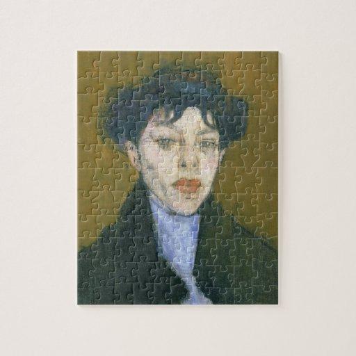 Mujer con una bufanda azul, c.1912 (aceite en lona puzzle con fotos