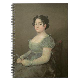 Mujer con una fan, c.1805-06 (aceite en lona) libreta