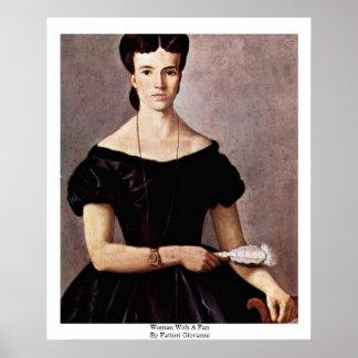 Mujer con una fan de Fattori Juan Poster