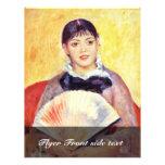 Mujer con una fan de Pierre-Auguste Renoir Tarjetas Publicitarias