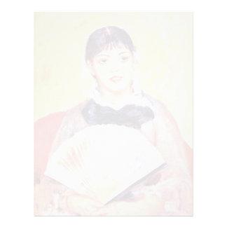 Mujer con una fan de Pierre-Auguste Renoir Membrete A Diseño