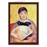 Mujer con una fan de Pierre-Auguste Renoir Felicitaciones
