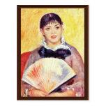 Mujer con una fan de Pierre-Auguste Renoir Tarjetas Postales