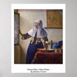 Mujer con una jarra del agua. Por Juan Vermeer Poster