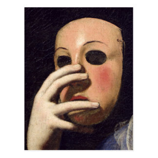 Mujer con una máscara postal