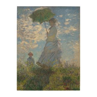 Mujer con una señora Monet y su hijo del parasol Cuadros De Madera
