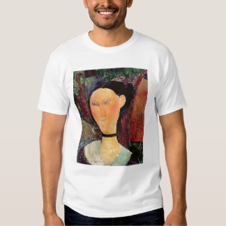 Mujer con una tirilla de la camisa del terciopelo,