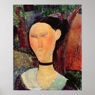 Mujer con una tirilla de la camisa del terciopelo, póster