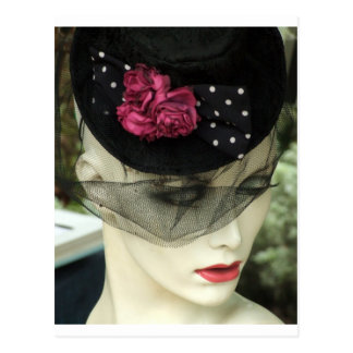 Mujer con velo negro tarjeta postal