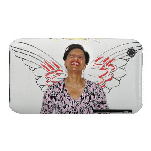 Mujer contra la pared ilustrada con las alas del iPhone 3 funda