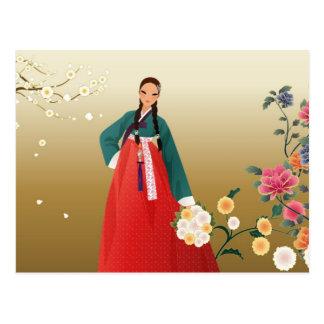 mujer coreana en un hanbok postal