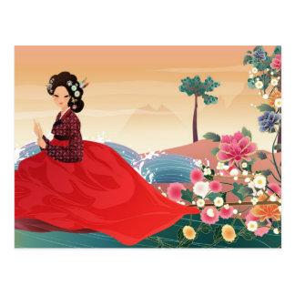 mujer coreana en un hanbok tarjetas postales