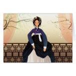 Mujer coreana que lleva un hanbok tarjeta de felicitación
