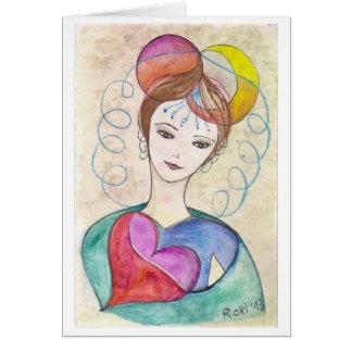 Mujer creativa - impresión de mi ejemplo original tarjeta pequeña