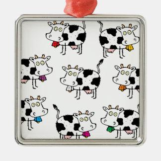 Mujer de 8 vacas adorno navideño cuadrado de metal