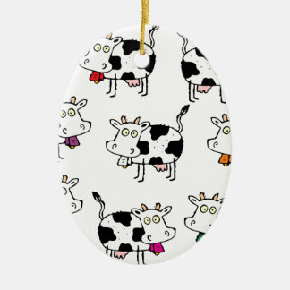 Mujer de 8 vacas adorno navideño ovalado de cerámica