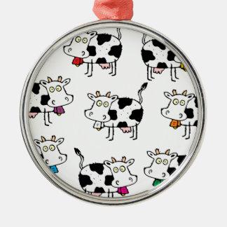 Mujer de 8 vacas adorno navideño redondo de metal