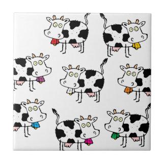 Mujer de 8 vacas azulejo cerámica