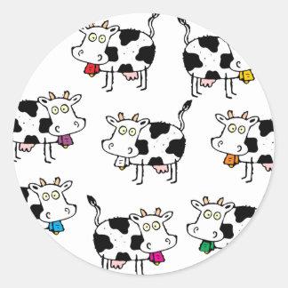 Mujer de 8 vacas etiqueta redonda