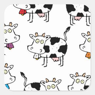 Mujer de 8 vacas pegatina cuadrada