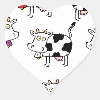 Mujer de 8 vacas pegatina en forma de corazón