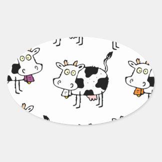 Mujer de 8 vacas pegatina ovalada