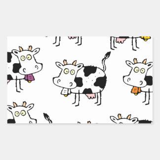 Mujer de 8 vacas pegatina rectangular