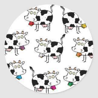Mujer de 8 vacas pegatina redonda
