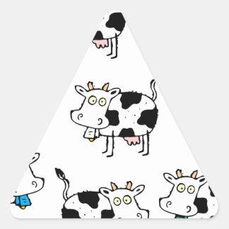 Mujer de 8 vacas pegatina triangular