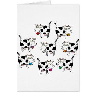 Mujer de 8 vacas tarjeta de felicitación