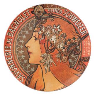 Mujer de Alfons Mucha en savonnerie de la pintura Plato