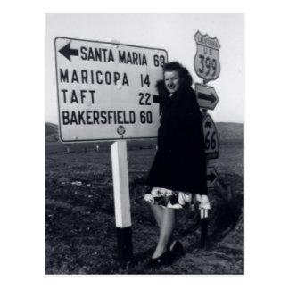 mujer de California de los años 40 Tarjeta Postal