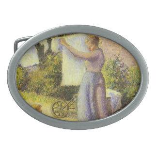 Mujer de Camilo Pissarro- que cuelga encima del la Hebillas Cinturón Ovales
