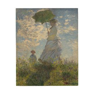 Mujer de Claude Monet con una bella arte del Cuadro De Madera