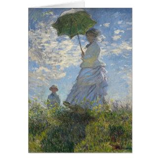 Mujer de Claude Monet con una bella arte del Tarjeta Pequeña