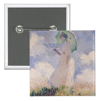 Mujer de Claude Monet el | con el parasol dado Pin Cuadrado
