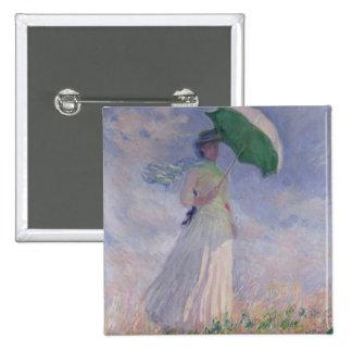 Mujer de Claude Monet el | con un parasol dado Pin Cuadrado