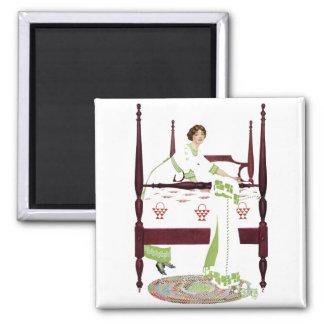Mujer de Coles Phillips y cama imperial y edredone Imán Cuadrado