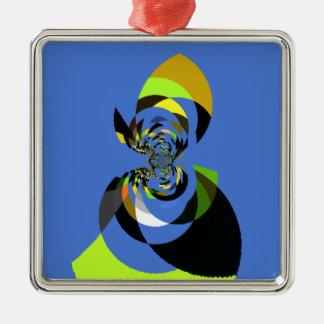 Mujer de colores adorno navideño cuadrado de metal