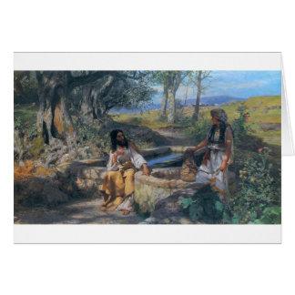 Mujer de Cristo y del samaritano circa 1890 Tarjetas