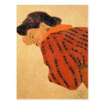 Mujer de descanso de Egon Schiele- con la blusa ro Postales