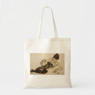 Mujer de descanso de Egon Schiele- con las medias  Bolsa Tela Barata