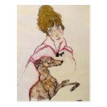 Mujer de Egon Schiele- con el galgo (Edith Schiele Postales