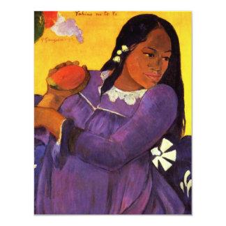 Mujer de Gauguin con las invitaciones de un mango Invitaciones Personalizada