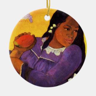 Mujer de Gauguin con un ornamento del navidad del  Ornamento De Navidad