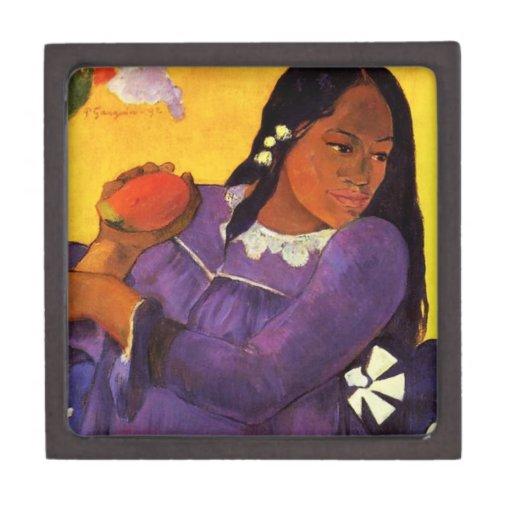 Mujer de Gauguin con una caja de regalo del mango Cajas De Recuerdo De Calidad