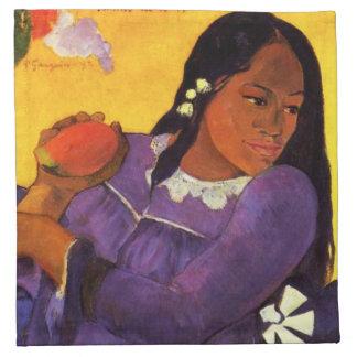 Mujer de Gauguin con una servilleta del mango